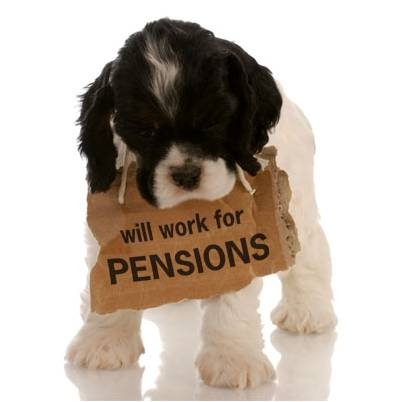 puppy with pension sign