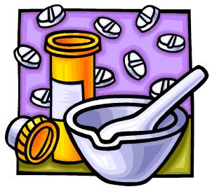 Pills with Mortar and Pestle